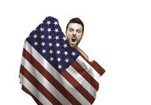 Fan holding the flag of USA celebrates — Foto de Stock