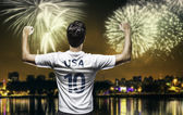 American soccer fan celebrates the victory after the match — Stockfoto