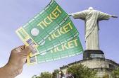 Hand holds soccer tickets in Rio de Janeiro, Brazil — Zdjęcie stockowe