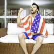 American fan celebrates at home — Stock Photo