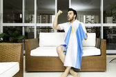 Argentine fan celebrates at home — Photo