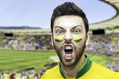 Brazilian soccer player celebrates on the stadium — Stock Photo