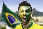Brazilian fan celebrates in Rio de Janeiro, Brazil — Stock Photo