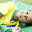 Brazilian fan boy with his face painted — Stock Photo #44170767