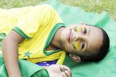 Menino fã brasileiro com o rosto pintado — Fotografia Stock