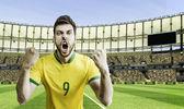 ブラジルのサッカー選手は競技場を祝う — ストック写真