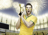 Brazilian soccer player celebrates the victory on the stadium — Stock Photo