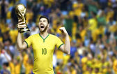 Brazilian soccer player celebrates holding a trophy - stadium — Photo