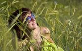 Sky in sunglasses — Stock Photo