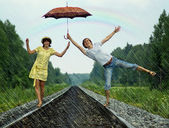 Couple under rain — Stock Photo