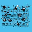 Music, partition, musical notes, bird, character, animal, humor,singer,musical, song,sound — Image vectorielle