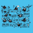 Vector de stock : Music, partition, musical notes, bird, character, animal, humor,singer,musical, song,sound