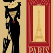 Paris, France, eiffel tower,woman, window, wealth, umbrella, typo, thin, text, symbol, retro, publicity, poster, period, past, parasol, on 1900, old-fashioned, - Stock Vector