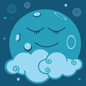 The moon, the star, the planet, the tale, the world, the universe, the space, to sleep, character, imagination, fantasy, child, dream, to dream, comic, magic strip, happiness,sky,earth, enchanted, — Stock Vector