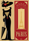 Paris, France, eiffel tower,woman, window, wealth, umbrella, typo, thin, text, symbol, retro, publicity, poster, period, past, parasol, on 1900, old-fashioned, — Stock Vector