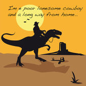 Cowboy,lucky luke,dinosaur,tyrex,prehistory,prehistoric,song,landscape, character,humor,caricature,animal,Jurassic, desert,the only one,solitary person,United States,America,continent,panorama,desert, — Stock Vector