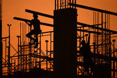 Construction site silhouette — Stock Photo