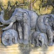 Elephant family carving — Stock Photo