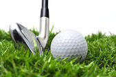 Iron and golf ball — Stock Photo