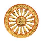 Wheel of dhamma of buddhism — Stockfoto