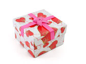 Gift Box with Pink Ribbon Bow — Stockfoto