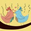 Two birds in love — Stockvectorbeeld