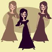 Drei mode mädchen — Stockvektor