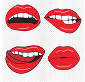 Set of four sexy lips — Stock Vector