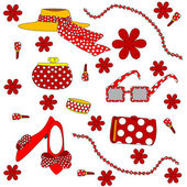 Set of red female accessories — Stock Vector