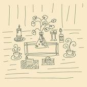 Doodle contour of romantic dinner — Stock Vector