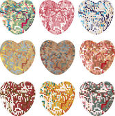 Set of pixel hearts — Stock Vector