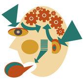 Profile of smart head — Stock Vector