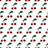 Seamless pattern with fresh cherry — Stock Vector