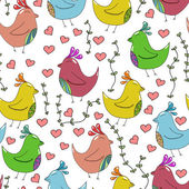 Seamless pattern with cute birds in love — Vector de stock