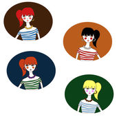 Four girls with various colors of hair — Wektor stockowy