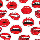 Seamless vector pattern with sexy red lips — Stock Vector