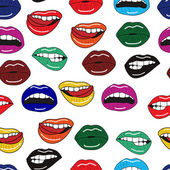 Seamless vector pattern with sexy colorful lips — Stock Vector