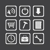 Iconos blancos simples 02 — Vector de stock