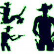 Cowboy silhouette set - Stock Vector