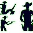Cowboy silhouette set — Stock Vector