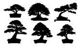 силуэт карликового дерева в горшке — Cтоковый вектор