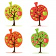 Apple tree set — Stock Vector