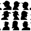 Portraits with hat profile — Stock Vector