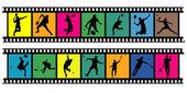 Badminton filmstrips 01 — Stock Vector