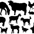 Farm animals silhouettes — Stock Vector #33894031