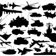 Stock Vector: Military technology silhouettes