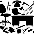 Office tools silhouettes — Stock Vector