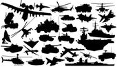 Military technology silhouettes — Stock Vector