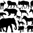 African mammal silhouettes — Wektor stockowy