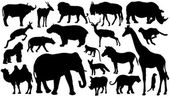 African mammal silhouettes — Stock Vector